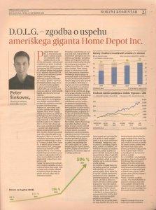 Svet kapitala - Delo - Peter Sinkovec - Consilue - DOLG - zgodba o uspehu ameriškega giganta Home Depot Inc