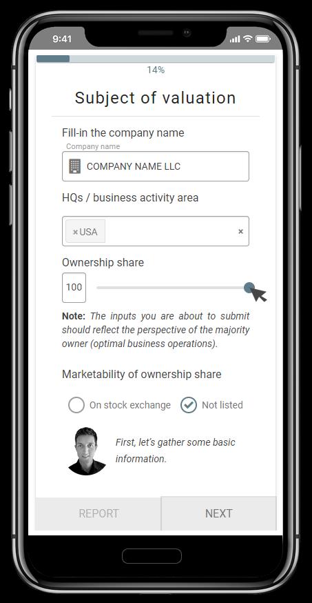 Business valuation calculator app